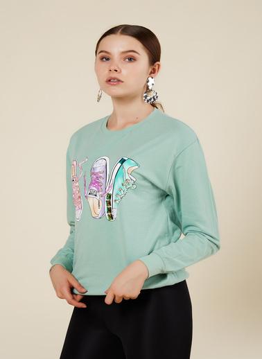 Coral Sweatshirt Yeşil